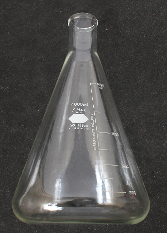 Kimble Kimax Graduated Erlenmeyer Flask 4L 4000mL 26500-4000