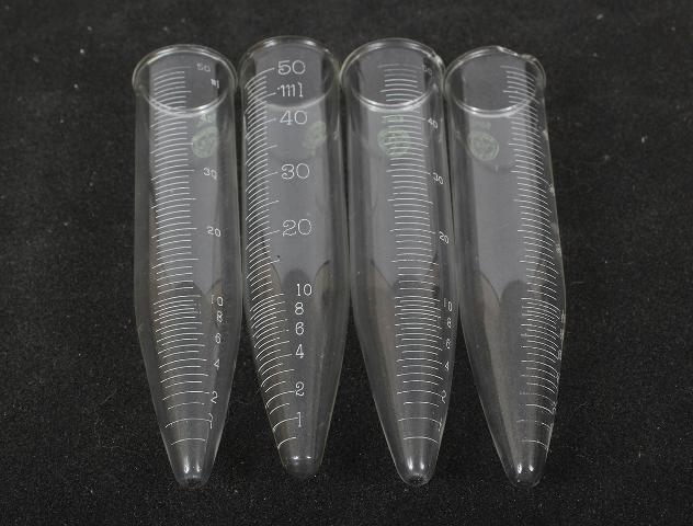 Lot of 4 Pyrex 50mL  Graduated Conical Centrifuge Tube w/ Beaded Rim 8080-50