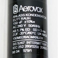 Aerovox Aero 150uF 260V AC Motor Start Capacitor 150MS26ACMKNLER