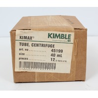 New Lot of 12 Kimble Kimax Heavy Duty Centrifuge Tubes 45199-40