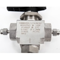 HAM-LET H6800SSL1/16 RCST Stainless Steel 3-Port LET-LOK Ball Valve 6000 PSI