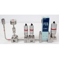 Fujikin FCS-4WS-F500 Mass Flow Controller w/ Valves .39~59 MPa N.C. CO Gas