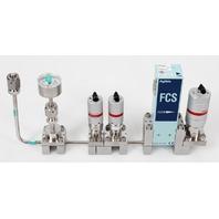 Fujikin FCS-4WS-F210 Mass Flow Controller w/ Valves .39~59 MPa N.C. CHF3 Gas