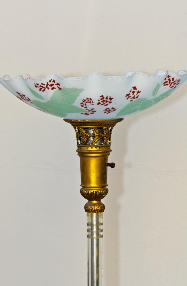 Antique deco floor lamp torchiere pr reverse painted shade cut antique deco floor lamp torchiere pr reverse painted shade cut crystal stem 2 mozeypictures Gallery
