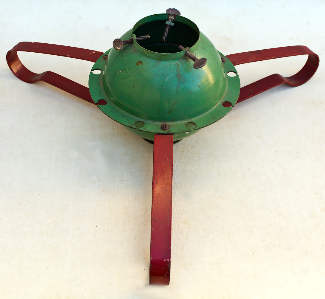 Charmant VINTAGE METAL MOD RED U0026 GREEN CHRISTMAS TREE STAND HOLDER ROUND BALL BASE
