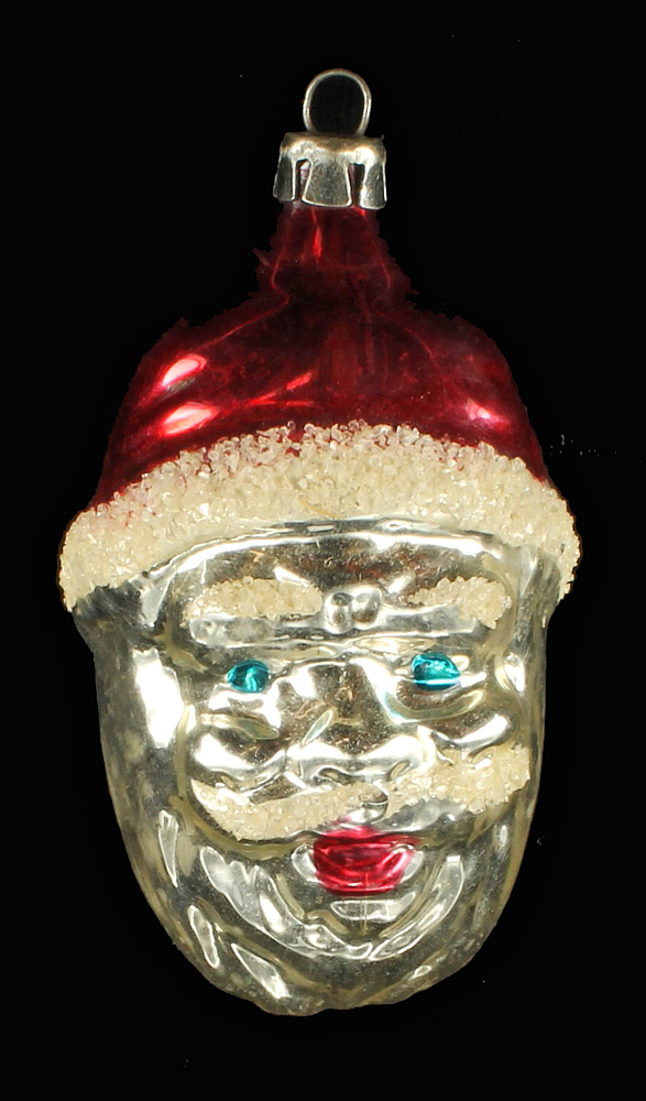 antique mercury glass christmas santa head ornament figural decoration poland - Mercury Glass Christmas Decorations