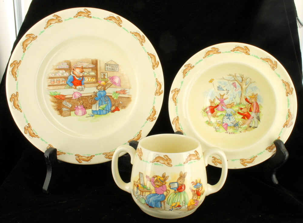 Vintage Set Three Royal Doulton Bunnykins Childs Mug Bowl u0026 Underplate Piggly & Vintage Set Three Royal Doulton Bunnykins Childs Mug Bowl ...