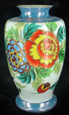 Antique Deco Japan Chrysanthemum Large Blue Orange Yellow Vase
