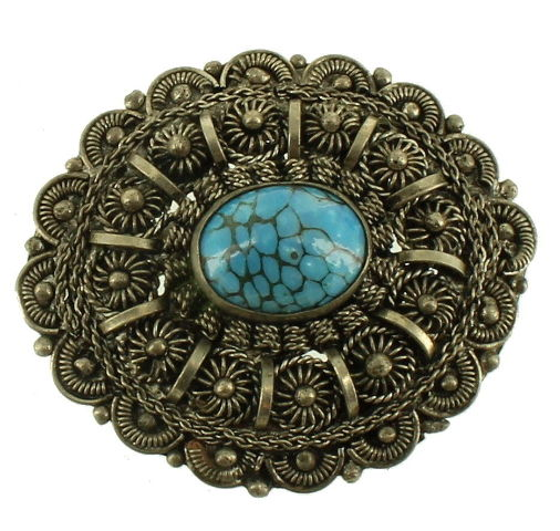 Vintage Gold Tone /& Turquoise Cab NecklaceBrooch  Free Shipping