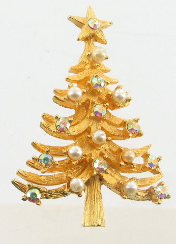 Christmas Tree ornate gold and silver tone  BROOCH may be used as pendant