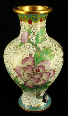 Antique Chinese 1920s Cloisonne Vase Vases Pair Peones Birds