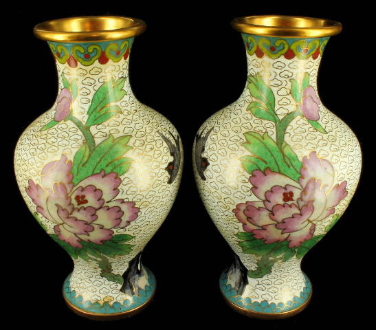Antique Chinese 1920s Cloisonne Vase Vases Pair Peones Birds