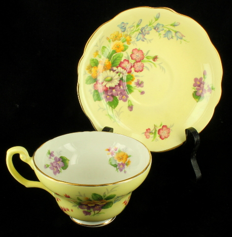 Details about VINTAGE EB FOLEY BONE CHINA CUP & SAUCER SET YELLOW & WHITE  MIXED FLORAL BOUQUET