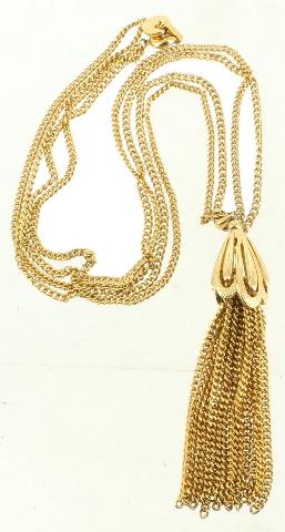 Vintage Monet Gold Tone Double Chain Large Fringe Elegant Drop