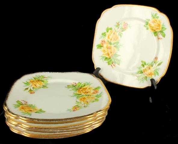 Vintage Royal Albert Square Salad Plates Tea Rose Set 8 Rare English Bone China & Vintage Royal Albert Bone China Set of 8 Salad Plates Tea Rose | eBay