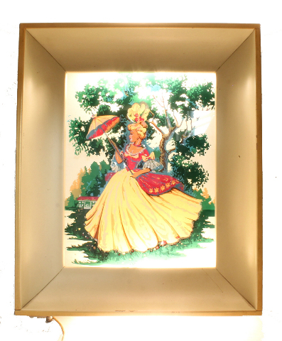 Vintage Lighted Shadowbox Wall Art Reverse Painted Glass Victorian ...