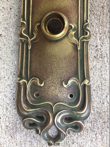 Antique Real Art Nouveau Brass Door Hardware Ornate Knob Back Plate Sargent  Co.