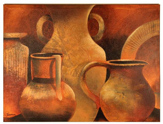 Vintage Huge Wall Art Painting Pottery Native American Terracotta ...