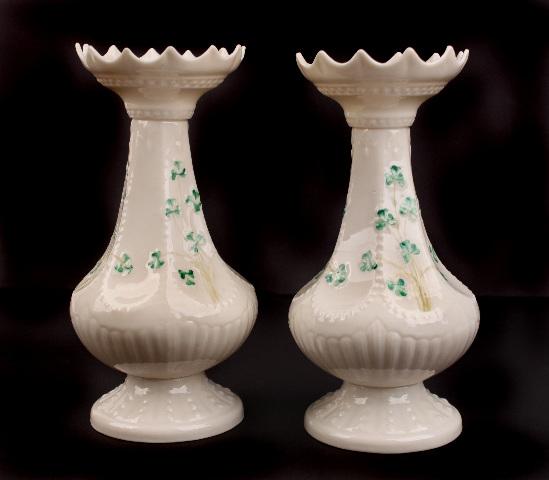 Pair Of Vintage Irish Belleek Shamrock Island Vases 7th Gold Mark