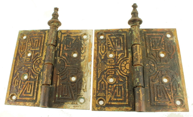 Antique 19th Century Eastlake Ornamental Cast Brass Steeple Tipped Door Hinges  sc 1 st  eBay & Antique 19th Century Eastlake Ornamental Cast Brass Steeple Tipped ...