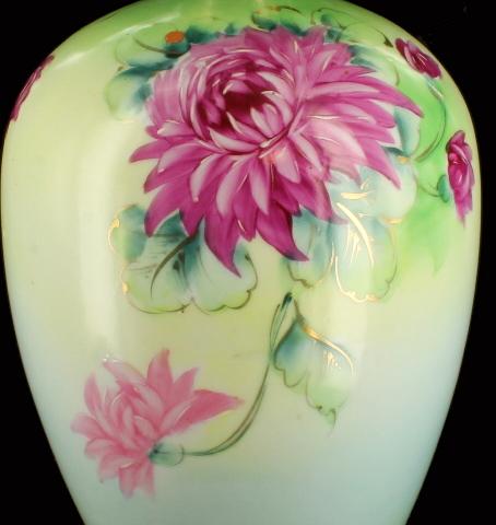 Rare Antique Iec Co Nippon Era Art Nouveau Hp Pair Chrysanthemum