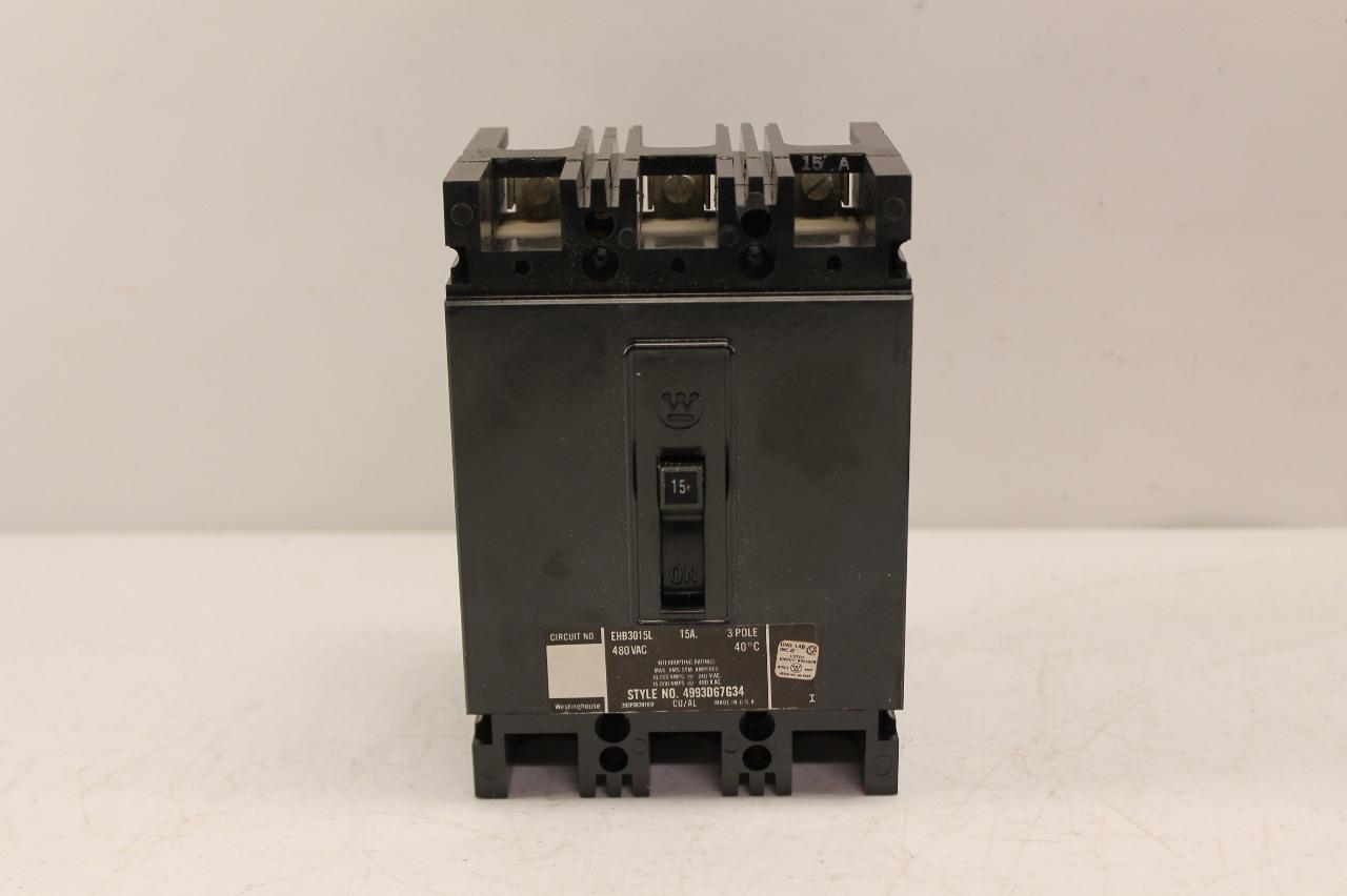 Westinghouse Cutler Hammer EHB3015L Circuit Breaker 15A 3P 480V New In Box
