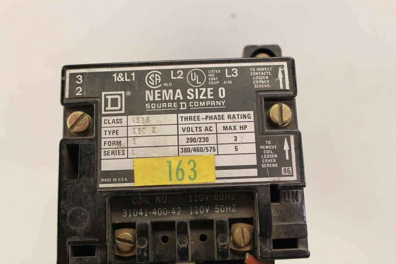 Square D SB02 Contactor Size 0 Coil 120V