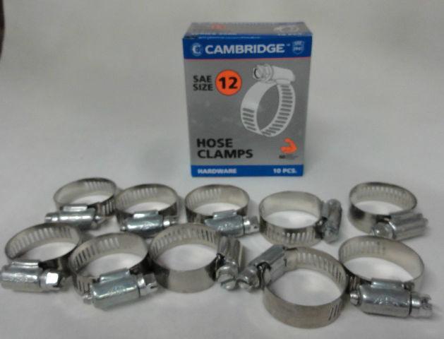 (10) #12 Hose Clamps, Fuel Line, Automotive, worm screw