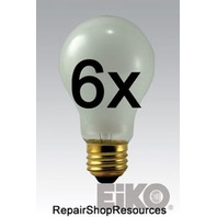 (6) EIKO SHATTER PROOF Rough Service Bulb, 100 Watt, Frosted Drop Light