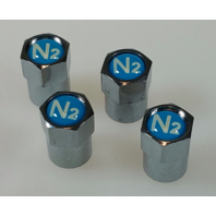 4 CHROME TPMS VALVE STEM CAPS N2 NITROGEN BLUE INSERT