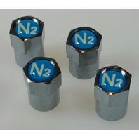 (100) TPMS Safe Valve Accessories, Chromed Plastic Hex Valve Cap with Blue Top