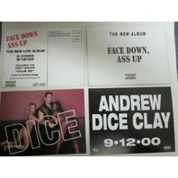 ANDREW DICE CLAY 2000 Face Down A** Up 2 promo postcard set Snoop Dog Flawless