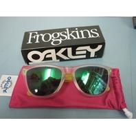 OAKLEY men FROGSKIN sunglass Matte Clear/Jade Iridium OO9013-B455 NEW in box