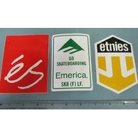 ES Etnies Emerica skateboard Vintage 2002 3 sticker set New Old Stock Flawless