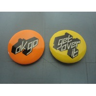 OK GO 2002 Get Over It Capitol Records promo 2 button/badge set New Old Stock