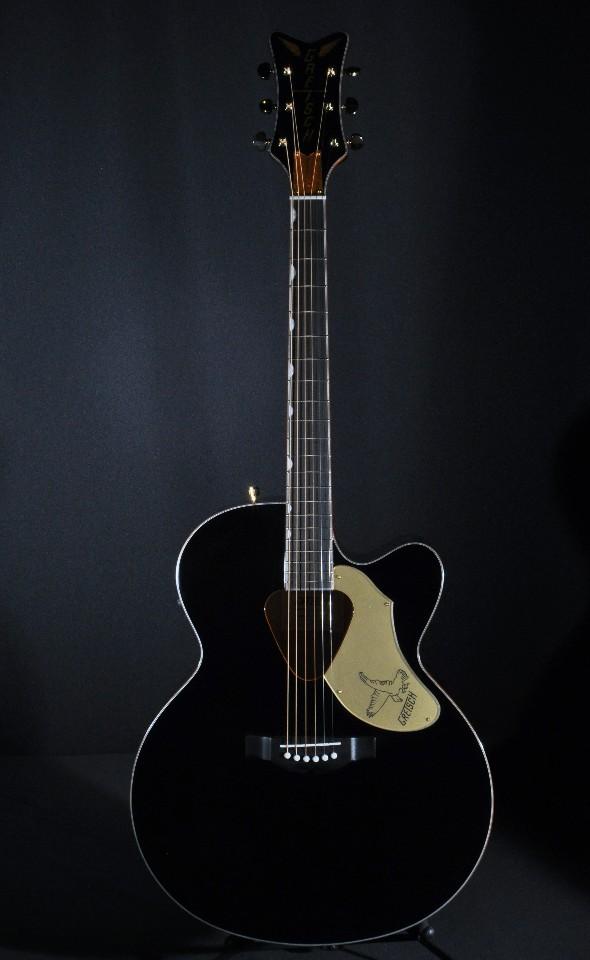 Gretsch Acoustic Guitars >> Gretsch G5022cbfe Black Jumbo Rancher Black Falcon Acoustic Electric Guitar