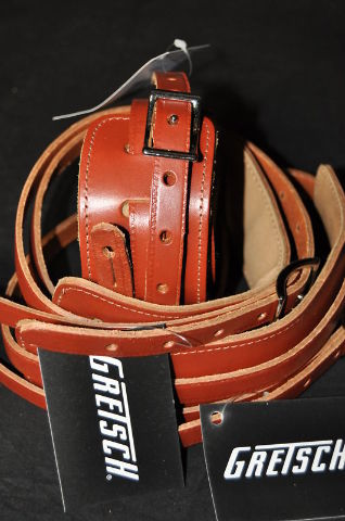 Gretsch  Straps  3- Skinny  Leather  Walnut  New