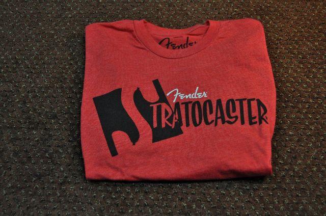 Fender Strat Body Tee Shirt Red Large