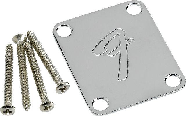 """FENDER NECK PLATE """"F"""" CHROME (0991448100)"""