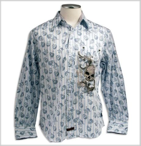 """Fender Custom Shop """"All Over Skull"""" Long Sleeve Shirt Blue Size Small"""