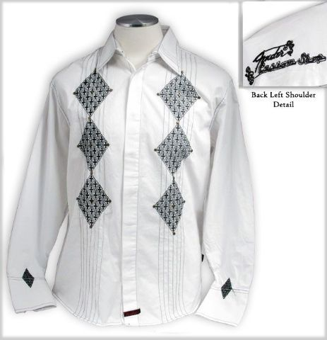 "FENDER CUSTOM SHOP ""BLACK PARADE"" LS SHIRT WHITE SMALL"