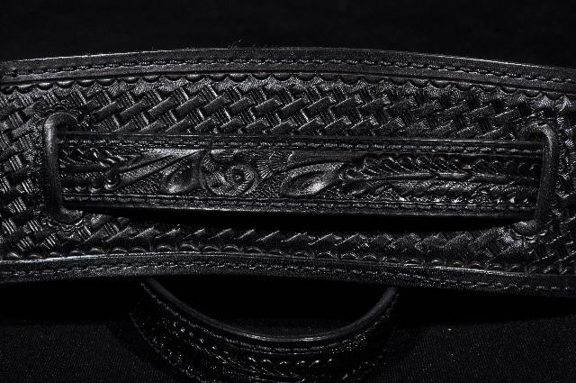 El Dorado Vintage Model Tooled Black Guitar Strap Ex-Lg 50''- 56''