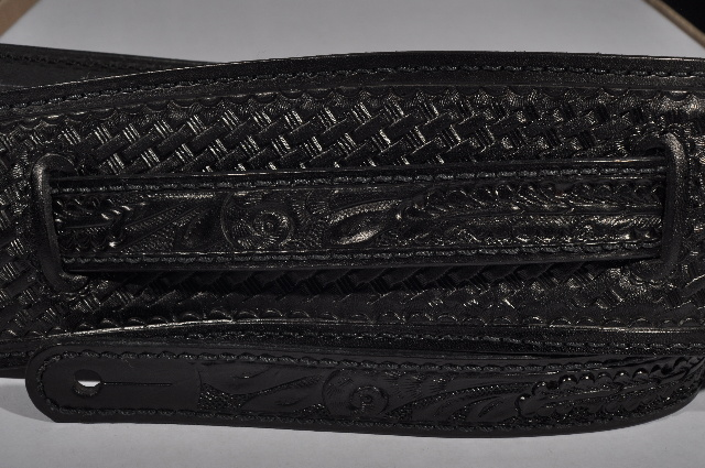 EL DORADO VINTAGE MODEL TOOLED BLACK GUITAR STRAP SMALL 40''-  46''