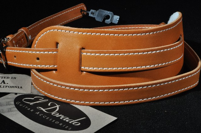 El Dorado Vintage Plain Tan Guitar Strap Med- Lg 45''- 51''