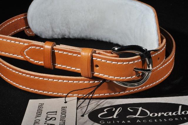 56/'/' EL Dorado Vintage Plain Black Guitar Strap EX LG 50/'/'