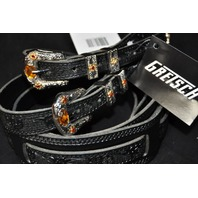 Gretsch Tooled Leather Guitar Strap Black  2-Pack