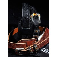 Gretsch Tooled Leather Guitar Strap 2-Pack Black/Walnut