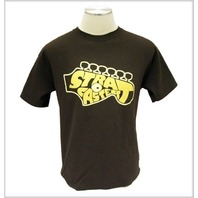 FENDER STRAT HEADSTOCK TEE SHIRT BROWN SMALL