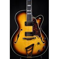 D'angelico DAEXDH Vintage Sunburst Arch Top Hollow Body Guitar W/Hardshell