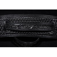 El Dorado Vintage Model Tooled Black Guitar Strap Med-Lg 45''- 51''